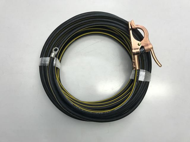 ☆新品☆溶接用WCTアース線 イエローライン(黄/黒) 22SQ 20m 片側端子R22-10 完成品