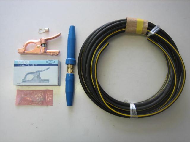 ☆新品☆溶接用キャブタイヤケーブル イエローライン(黄/黒) WCT22SQ 25m 付属品付(アースクリップ+端子+ジョイント)