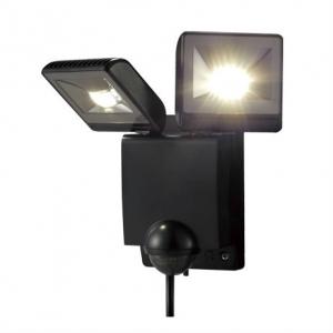 OPTEX LEDセンサーライト ON/OFF・2灯タイプ ブラック LED白色(クールホワイト) LA-22LED(BL)