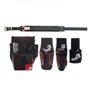 マーベル 腰道具セット 柱上安全帯用ベルト (スライドバックル(鉄) スタンダードタイプ/D環1個・角環1個付)+腰回り4点セット 《WAISTGEARαシリーズ》 MAT-70BSETA