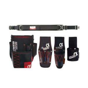 マーベル 腰道具セット 柱上安全帯用ベルト (ワンタッチバックル 軽量・スタンダードタイプ/D環1個・角環1個付)+腰回り4点セット 《WAISTGEARαシリーズ》 MAT-80BSETA
