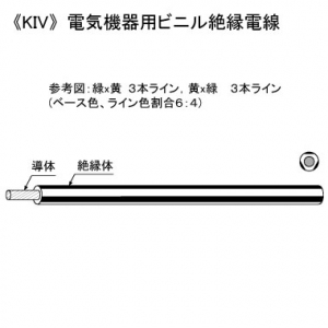 KHD 電気機器用ビニル絶縁電線 600V 5.5㎟ 100m巻 緑×黄 KIV5.5SQ×100mミドリ/キ
