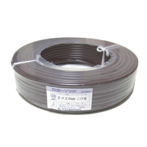 カワイ電線 カラーVVFケーブル 600Vビニル絶縁ビニルシースケーブル 2.0mm 2心 100m巻 こげ茶 VVF2.0×2C×100mコゲチャ