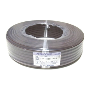 カワイ電線 カラーVVFケーブル 600Vビニル絶縁ビニルシースケーブル 1.6mm 3心 100m巻 こげ茶 VVF1.6×3C×100mコゲチャ