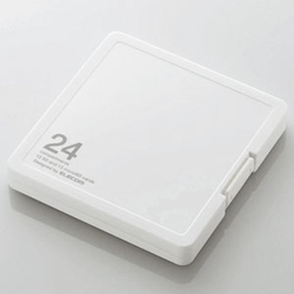 開催中 ELECOM SD microSDカードケース プラスチックタイプ CMC-SDCPP24WH ホワイト 激安挑戦中 SDカード12枚+microSDカード12枚収納