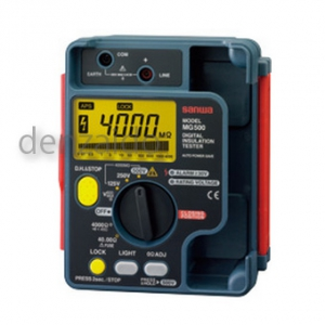 三和電気計器 絶縁抵抗計 デジタル 防塵防滴(IP54)設計 自動放電機能 3レンジ式 定格電圧:500/250/125V 抵抗測定:4000MΩ MG500