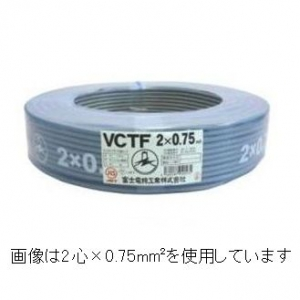 富士電線 ビニルキャブタイヤ丸形コード 8心 0.75㎟ 100m巻 灰色 VCTF0.75SQ×8C×100mハイ