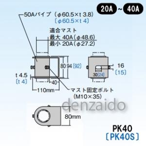 マスプロ 側面付けマスト取付金具 適合マスト:φ27.2~48.6mmのマスト用(20~40A) ステンレス製 PK40S