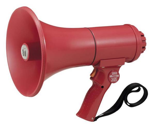 TOA サイレン音付中型防滴メガホン 15W ER-1115S