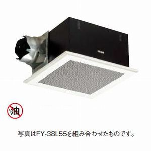 パナソニック 天井埋込形換気扇 排気・強-中-弱-微 低騒音・大風量形 風量切替機能内蔵形 鋼板製本体 ルーバー別売タイプ 埋込寸法:385mm角 適用パイプ径:φ150mm FY-38BKA7