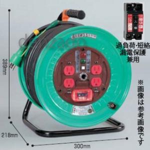 日動工業 100V 一般型ドラム アース・過負荷漏電保護兼用型 15A/15mA感度赤 接地 2P 15A 125V コンセント数:4 長さ50m VCT2.0×3 手動復帰型温度センサー付 アースチェックランプ付 ND-EK54