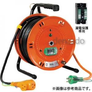 日動工業 びっくリール 延長コード型 標準型 アース付/アース・漏電保護専用 15mA感度緑 接地 2P 15A 125V コンセント数:3 長さ30m VCT2.0×3 手動復帰型温度センサー付 NL-EB30S