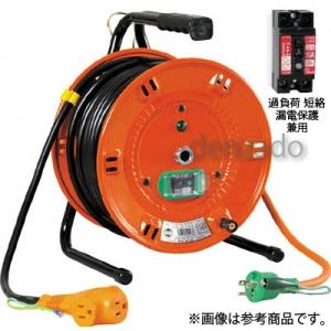 日動工業 びっくリール 延長コード型 標準型 アース・過負荷漏電保護兼用型 15A/15mA感度赤 接地 2P 15A 125V コンセント数:3 長さ20m VCT2.0×3 NL-EK20S