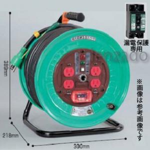 日動工業 100V 一般型ドラム アース付/アース・漏電保護専用 15mA感度緑 接地 2P 15A 125V コンセント数:4 長さ30m VCT2.0×3 アースチェックランプ付 ND-EB34