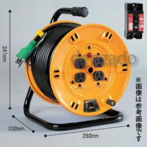 日動工業 100V 一般型ドラム アース・過負荷漏電保護兼用型 15A/15mA感度赤 接地 2P 15A 125V コンセント数:4 長さ20m VCT2.0×3 NP-EK24