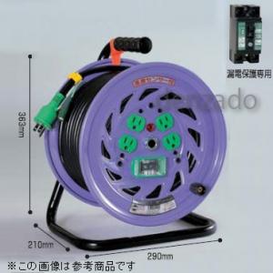日動工業 単相200V 一般型ドラム 屋内型 アース付/アース・漏電保護専用 15mA感度緑 Wコン 接地2P 15A 250V コンセント数:4 長さ20m VCT2.0×3 NF-EB220-15A