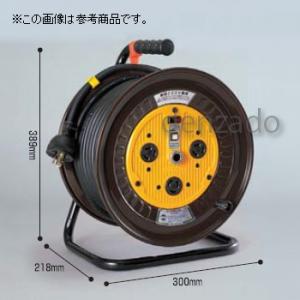 日動工業 単相200V ロック・引掛式ドラム 屋内型 アース付 φ35 3P 20A 250V 外カギ コンセント数:3 長さ50m VCT2.0×3 アースチェックランプ付 ND-E250L-20A