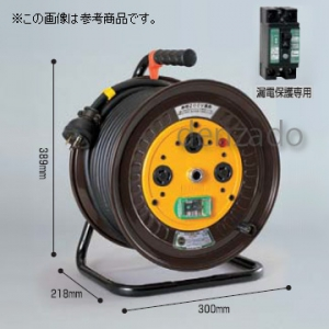 日動工業 単相200V ロック・引掛式ドラム 屋内型 アース付/アース・漏電保護専用 15mA感度緑 φ35 3P 20A 250V 外カギ コンセント数:3 長さ30m SVCT3.5×3 ND-EB230FL-20A