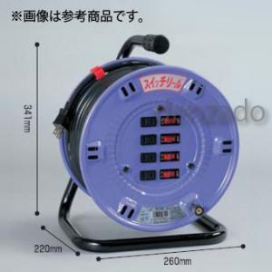 日動工業 スイッチリール 屋内型 アース無 2P 15A 125V コンセント数:4 長さ50m VCT2.0×2 自動復帰型温度センサー付 SW-504