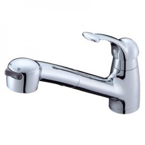 三栄水栓製作所 シングルワンホールスプレー混合栓 節水水栓 キッチン用 ホース引出し式 ベロアメッキ仕様 Kiwitap K8770JV-MC