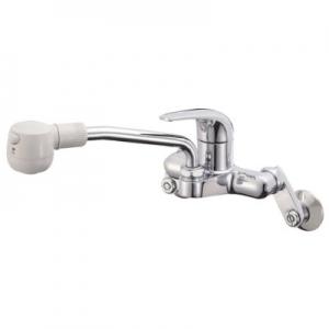 三栄水栓製作所 シングル切替シャワー混合栓 節水水栓 壁付混合栓 キッチン用 パイプ上向きタイプ 寒冷地用 U-MIX K270MK