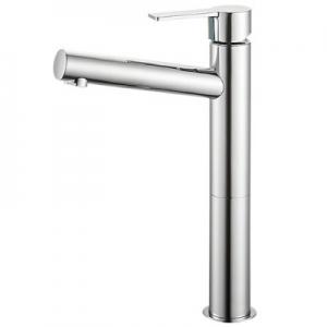 三栄水栓製作所 シングルワンホール洗面混合栓 節水水栓 スリムタイプ ポップアップ・ゴム栓なし 泡沫吐水 吐水口高さ:206mm column K4750NV-2T