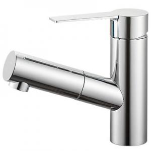 三栄水栓製作所 シングルワンホール洗面混合栓 節水水栓 ホース引出し式 ホース長さ:1m 泡沫吐水 column K47531JV