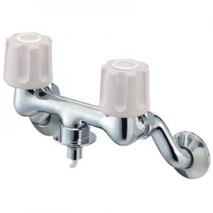 三栄水栓製作所 ツーバルブ洗濯機用混合栓 壁付混合栓 オートストッパー付 U-MIX K1101TV-1-LH