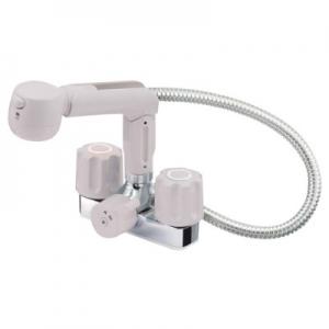三栄水栓製作所 ツーバルブスプレー混合栓 洗髪用 節水水栓 ホース露出タイプ 一時止水機能付 ホース長さ:0.5m U-MIX K3104V-LH