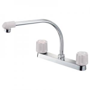 三栄水栓製作所 ツーバルブ台付混合栓 キッチン用 台幅:243mm 寒冷地用 U-MIX K61DK-LH