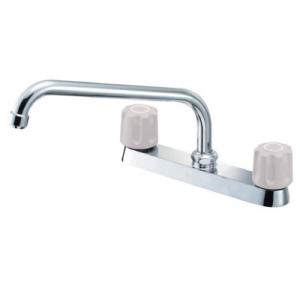 三栄水栓製作所 ツーバルブ台付混合栓 キッチン用 台幅:250mm 寒冷地用 U-MIX K611K-LH