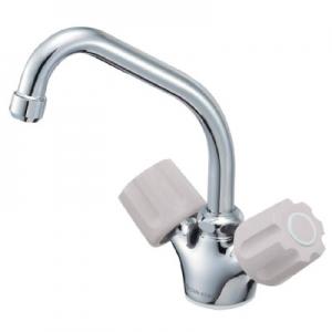 三栄水栓製作所 ツーバルブワンホール混合栓 キッチン用 取付足径:32mm 寒冷地用 U-MIX K811K-LH