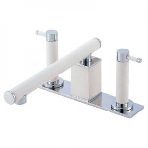 三栄水栓製作所 ツーバルブデッキ混合栓 ユニット用 浴室用 断熱仕様 色:白磁 TOH K91300-L-JW