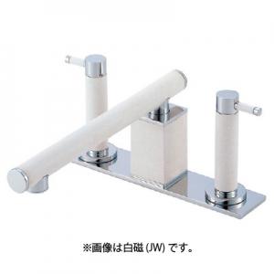 三栄水栓製作所 ツーバルブデッキ混合栓 ユニット用 浴室用 断熱仕様 色:墨磁 TOH K91300-L-JD
