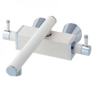 三栄水栓製作所 ツーバルブ混合栓 壁付混合栓 キッチン用 断熱仕様 泡沫吐水 色:白磁 TOH K2530-JW