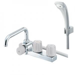 三栄水栓製作所 ツーバルブデッキシャワー混合栓 一時止水 左用 浴室用 寒冷地用 U-MIX SK7104KL-LH