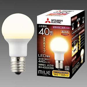 三菱 【ケース販売特価 10個セット】 LED電球 《MILIE ミライエ》 全方向タイプ 小形電球形 40W形相当 全光束440lm 電球色 E17口金 LDA4L-G-E17/40/S-PS_set