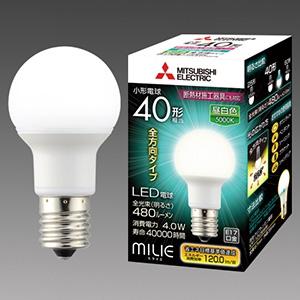 三菱 【ケース販売特価 10個セット】 LED電球 《MILIE ミライエ》 全方向タイプ 小形電球形 40W形相当 全光束480lm 昼白色 E17口金 LDA4N-G-E17/40/S-PS_set