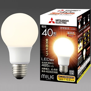三菱 【ケース販売特価 10個セット】 LED電球 《MILIE ミライエ》 全方向タイプ 一般電球形 40W形相当 全光束485lm 電球色 軽量化タイプ E26口金 LDA4L-G/40/S-A_set