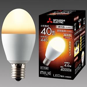 三菱 【ケース販売特価 10個セット】 LED電球 《MILIE ミライエ》 全方向タイプ 小形電球形 40W形相当 全光束440lm 電球色 調光器対応タイプ E17口金 LDA5L-G-E17/40/D/S_set