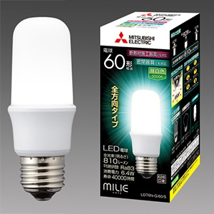 三菱 【ケース販売特価 10個セット】 LED電球 《MILIE ミライエ》 T形 全方向タイプ 一般電球形 60W形相当 全光束810lm 昼白色 E26口金 LDT6N-G/60/S_set