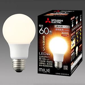 三菱 【ケース販売特価 10個セット】 LED電球 《MILIE ミライエ》 全方向タイプ 一般電球形 60W形相当 全光束810lm 電球色 調光器対応タイプ E26口金 LDA8L-G/60/D/S-A_set