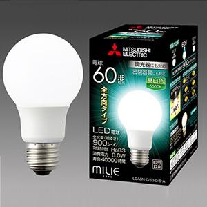 三菱 【ケース販売特価 10個セット】 LED電球 《MILIE ミライエ》 全方向タイプ 一般電球形 60W形相当 全光束900lm 昼白色 調光器対応タイプ E26口金 LDA8N-G/60/D/S-A_set