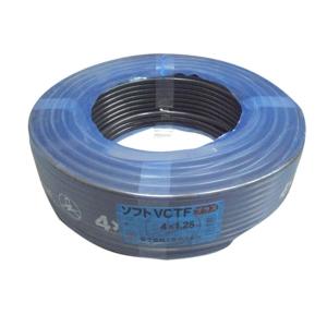 富士電線 300V 耐熱ソフトビニルキャブタイヤ丸形コード 1.25㎟×4心×100m巻き 黒 ソフトVCTF1.25SQ×4C×100mクロ