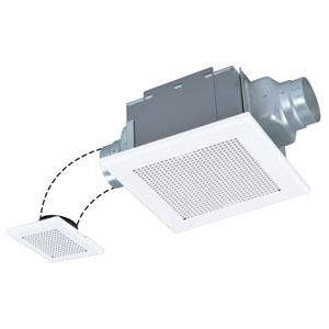 三菱 ダクト用換気扇 サニタリー用 低騒音形 2部屋換気用 接続パイプφ100mm 埋込寸法260mm角 VD-15ZF10