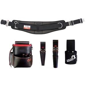 マーベル 腰道具セット 柱上安全帯用ベルト+腰回り4点セット 調整機能付ワンタッチバックル 湾曲タイプ 《牛革・ハイクオリティシリーズ》 MATX-250HBSETB
