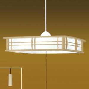 タキズミ ペンダントライト和風LEDタイプ 樹脂枠白木調 プラスチックセード(乳白色) 10畳用 プルスイッチ付 昼光色 RV10071