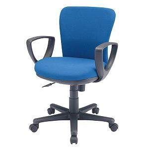 サンワサプライ オフィスチェア 低ホルムアルデヒドチェア 座面耐荷重量80kg 肘あて付 ブルー SNC-022KBL