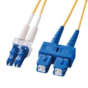サンワサプライ 光ファイバケーブル 2芯タイプ シングルモード コア径10ミクロン LCコネクタ×2-SCコネクタ×2 ギガビットイーサネット対応 50m HKB-LCSC1-50L