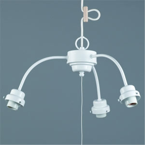 後藤照明 ペンダントライト 3灯用吊具 ビス止めタイプ アームCP型 E26口金 プルスイッチ付 白塗装 GLF-0271WH